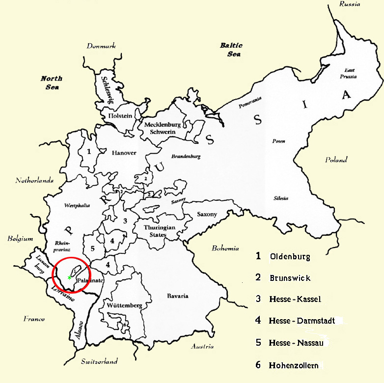 map of germany in 1850
